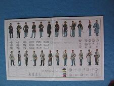 Civil War Print of Confederate & Union Uniforms, Insignia's, Chevrons, Buttons +