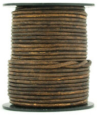 Xsotica® Brown Antique Round Leather Cord 1mm 25 meters (27 yards)