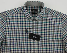 Men's HUGO BOSS Gray Teal Blue Plaid RENZO Shirt M Medium NWT NEW $165+ Nice!