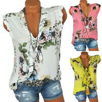 Womens Sleeveless Floral V Neck T-Shirts Tops Loose Tunic Blouse Shirt Plus Size