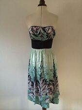 Silk Boat Neck Floral Sleeveless Dresses for Women