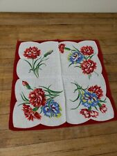 """Vintage Handkerchief Floral Red Band 13"""""""