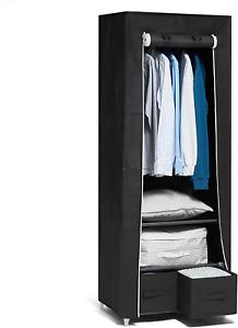 Hododou Portable Wardrobe Single Canvas Wardrobe Clothes Storage Organizer with