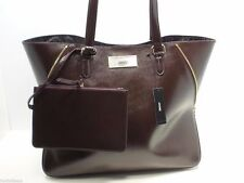 "DKNY Shiny Saffiano Leather Burgundy Leather Tote Shoulderbag Handbag $298 ""NEW"""