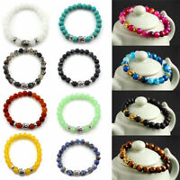 Natural Stone Beads Buddha Head Beaded Men Womens Lava Rock Handmade Bracelets