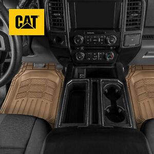 CAT Deep Dish Pro Pickup Truck Floor Mats Universal Liners, 4PC Front & Rear Set