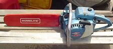 Blue Homelite Chainsaw XL-12  Bar- Old Heavy Handle Vtg Red Cover Tree Saw Runs?