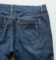 "Womens White House Black Market Noir Denim Blue Jeans 34"" X 34"" Size 6R"