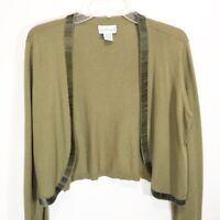 Soft Surroundings Womens Shrug Cardigan Bolero Sage Green Beaded Wool Blend Sz M