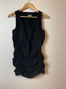 Athleta Women's Breathe Tank Top Ruched Organic Cotton Black Size XL Flaw