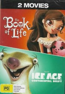 THE BOOK OF LIFE / ICE AGE CONTINENTAL DRIFT (Region 4, 2 Disc DVD Set) *New* 🎬