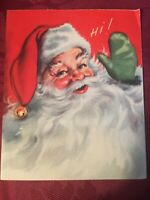 Vintage 1940s Santa rosy cheeks  Christmas Greeting Card  Hi!