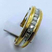 14k Yellow & White Gold Men's .25 Carats Diamond Wedding Band Ring Size 10.25