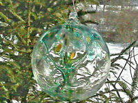 "Hanging Glass Ball 6"" Diameter ""Winter Tree"" Witch Ball (1) #26"
