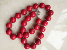 """Round Bead Necklace 18"""" 14Mm Aaa Red Coral"""