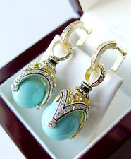 SALE ! GORGEOUS MADE OF STERLING SILVER 925  EARRINGS w/ GENUINE TURQUOISE