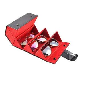 5 Slots Foldable Leather Sunglasses Eyeglasses Travel Organizer Case Container