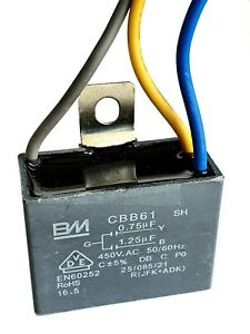 CBB61 motor fan start capacitor 3wire BM,0.75uF+1.25uF 450V max-UKsellr ref:b979
