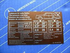 """Mercedes Sticker """"Tire Pressure"""" inside Tank Hatch W100 """"Grosser"""" Vintage! NOS!"""