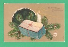 VINTAGE CHRISTMAS POSTCARD ICED CAKE BOW FIR SNOW CANDLE STAR ORNAMENT