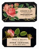 2 Victorian Trade Cards CHASE & CO. CONFECTIONS,  PAGE & BAILEY CANDIES - BOSTON