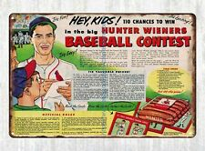 man cave plaques 1953 Hunter Wieners Baseball Contest Ad metal tin sign