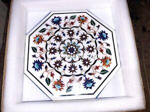 Multi Antique Marble Console Table Top Inlay Collectible Semi Precious Arts M194
