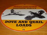 "VINTAGE WINCHESTER SHOTGUN SHELLS DOVE & QUAIL 11 3/4"" PORCELAIN METAL GUN SIGN!"