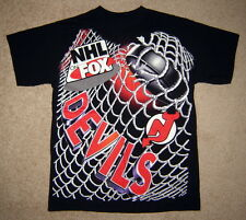 Vintage NEW JERSEY DEVILS Black Puck/Net NHL on FOX Ice Hockey T-Shirt (Adult L)