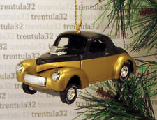 '41 WILLYS COUPE 1941 GOLD BLACK HOT ROD DRAGSTER CHRISTMAS TREE ORNAMENT XMAS