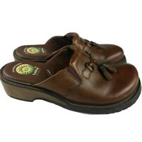 Earth Spirit Pinewood II Womens Size 7 Shoes Brown Leather Slip-On Mules Clogs