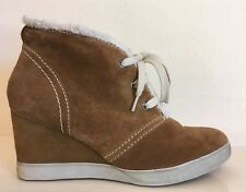 TAMARIS Suede Ankle Boots Wedge Heel Light Brown with Faux Fur Lining Womens UK