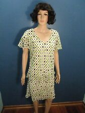 Size 18 green/brown/white POLKA DOT TWO PIECE FLOWING outfit by KARIN STEVENS