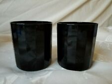 Black Paneled Old Fashioned Glasses Hand Blown Crystal Whiskey Set of 2