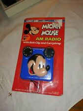 Disney Concept 2000 Mickey Mouse AM Radio W/ Belt Clip and Carry strap, NIP!