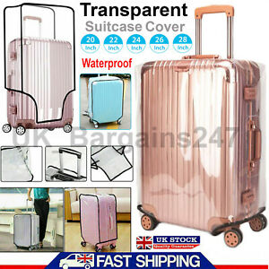 """CLEAR SUITCASE COVER TRANSPARENT PVC LUGGAGE PROTECTOR 20 22 24 26 28"""" INCH BAG"""