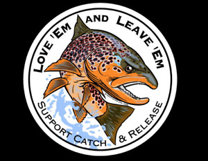 """""""Love Em and Leave Em"""" Trout Decal Fly Fishing Sticker"""