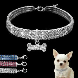 Dog Collar Rhinestone Full Bling Necklace Diamante Bone Pendant Pet Puppy Cat UK