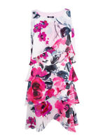 SL Fashions Women's Chiffon Floral-Print Tiered Dress