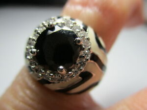 STERLING SILVER ESTATE BLACK ROUND SPINEL ZEBRA ENAMEL ACCENTS RING SIZE 6.75