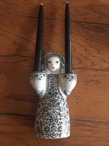 Vintage Angel Candleholder Black Danish Jacob E Bang Nymolle Denmark