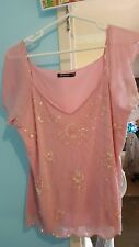 Rockmans sleeveless top - Pink - sequined front - size 18