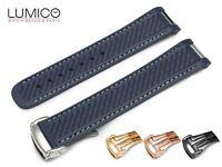 For 20mm OMEGA SeaMaster Aqua Terra 41mm Blue White Rubber Strap Band Clasp