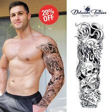 Brazo de manga completo tatuaje temporal, amor, odio, cráneo, tinta Negra, Para Hombre, Para Mujer
