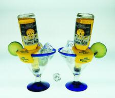 Mexican Margarita Glasses, blue rim, CoronaRita /Mexican bulldog, set of 2 15 oz