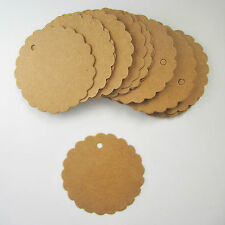 50 large round scalloped edged circle brown kraft parcel tags - 50mm weddings