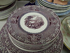 """8 Royal Staffordshire Lavender/Mulberry """"JENNY LIND"""" Bread & Butter Plates"""