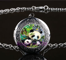 Panda Mother And Baby Cabochon Glass Gun Black Locket Pendant Necklace