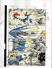 Avengers 301 Marvel colorist's art page 19: Thor/Captain America/Fantastic Four
