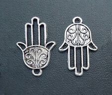 "Silver Hamsa Hand of Fatima Charms / Pendants / Links - Set of 10  -- 7/8"" Tall"